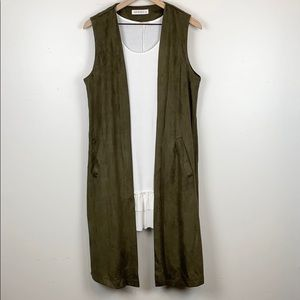 Buddy Basics green suede open back cardigan duster